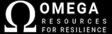 logo for Omega, white letters on black background